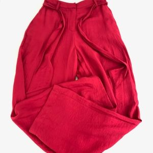 Anthropologie Wide Legs Red Trousers Pants